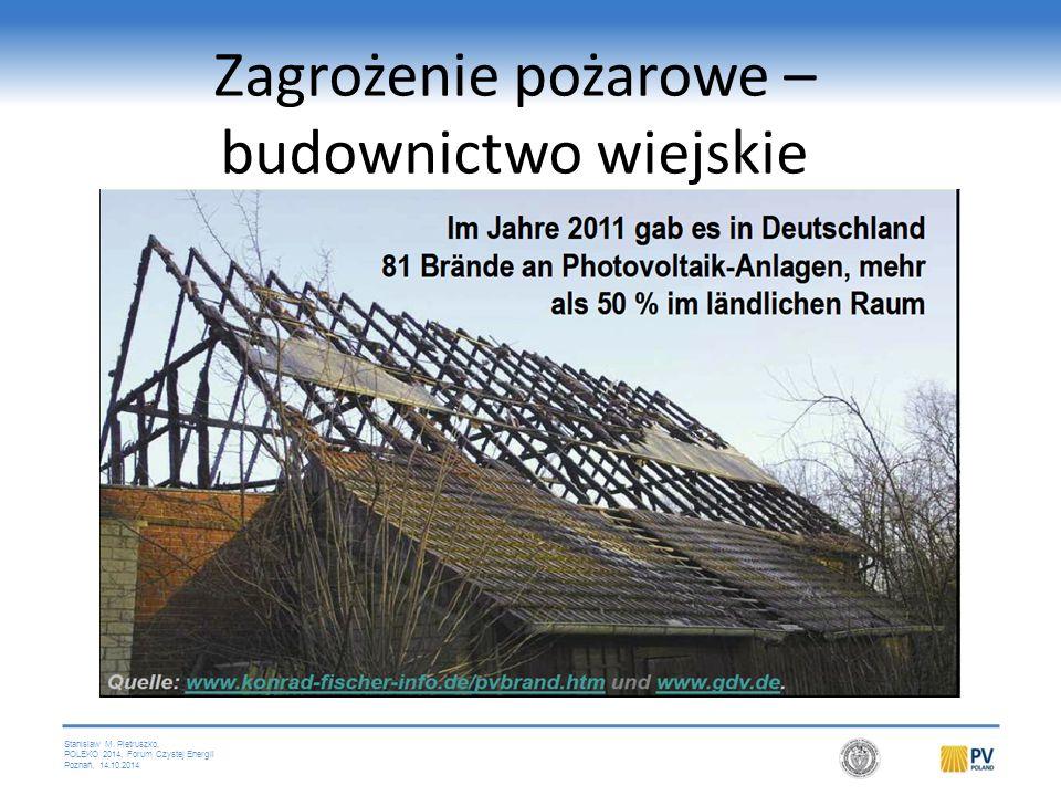 Stanislaw M. Pietruszko, POLEKO 2014, Forum Czystej Energii Poznań, 14.10.2014 Zagrożenie pożarowe – budownictwo wiejskie