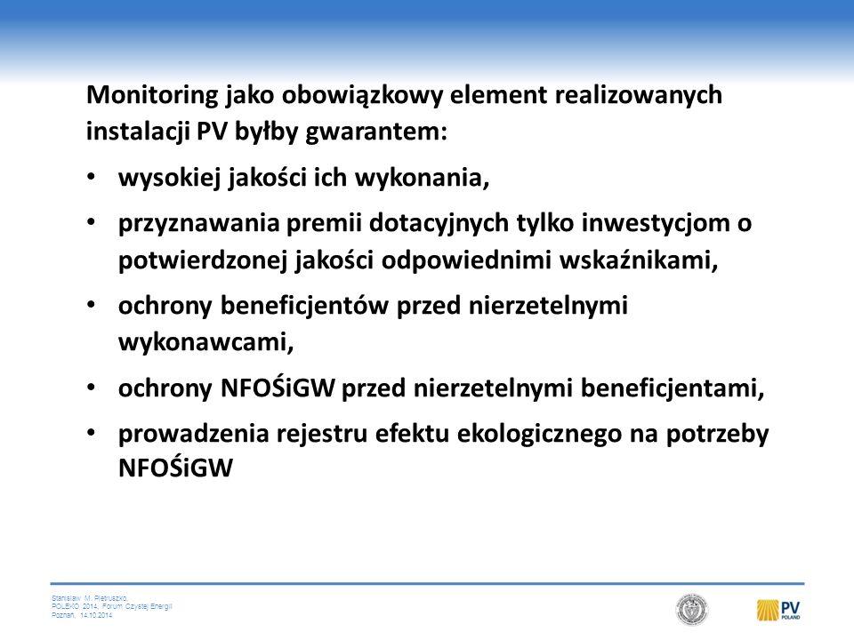 Stanislaw M. Pietruszko, POLEKO 2014, Forum Czystej Energii Poznań, 14.10.2014 Monitoring jako obowiązkowy element realizowanych instalacji PV byłby g