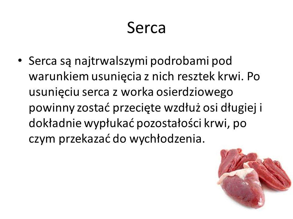 Serca Serca są najtrwalszymi podrobami pod warunkiem usunięcia z nich resztek krwi. Po usunięciu serca z worka osierdziowego powinny zostać przecięte