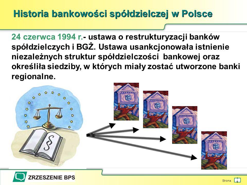 Strona 16 Historia bankowości spółdzielczej w Polsce 24 czerwca 1994 r.- ustawa o restrukturyzacji banków spółdzielczych i BGŻ.