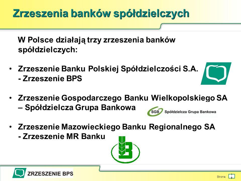 Strona 19 Zrzeszenia banków spółdzielczych W Polsce działają trzy zrzeszenia banków spółdzielczych: Zrzeszenie Banku Polskiej Spółdzielczości S.A.