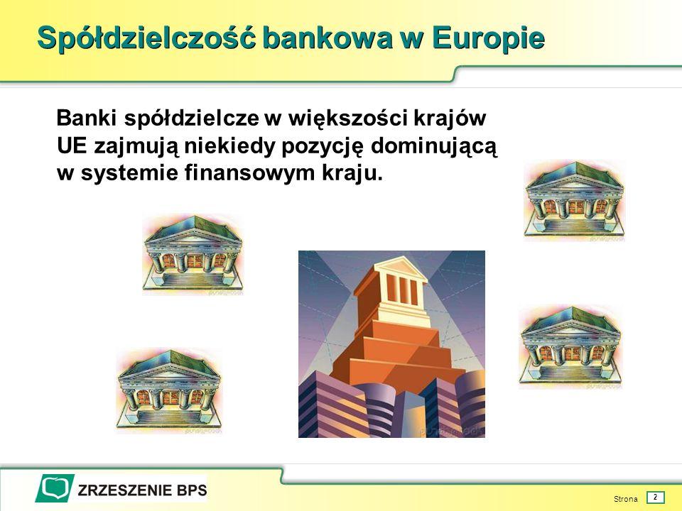 Strona 2 Spółdzielczość bankowa w Europie Banki spółdzielcze w większości krajów UE zajmują niekiedy pozycję dominującą w systemie finansowym kraju.