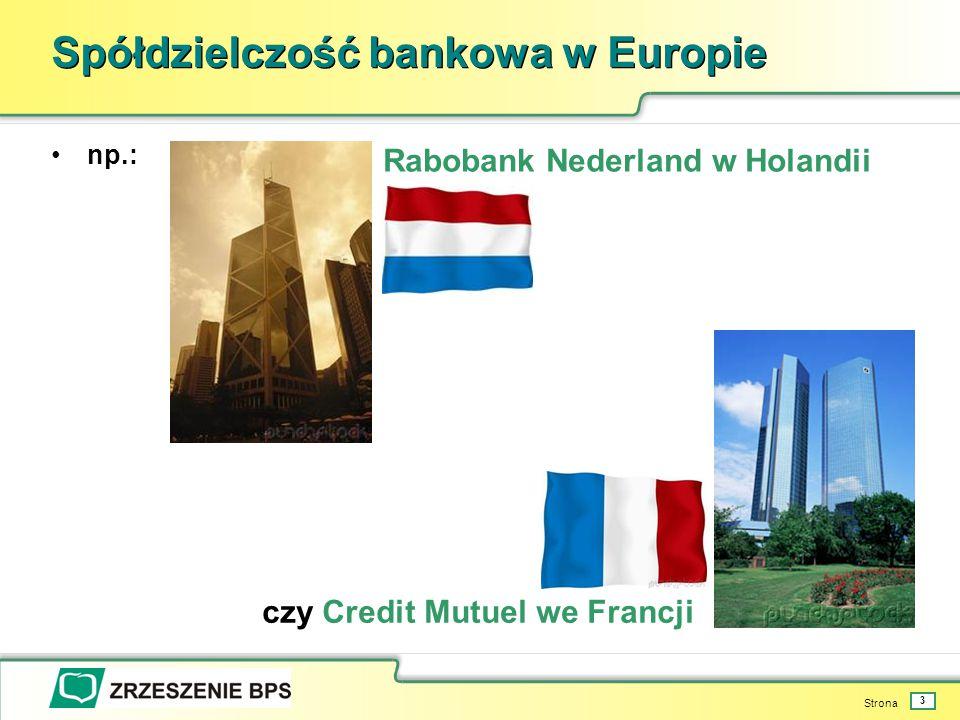 Strona 3 Spółdzielczość bankowa w Europie np.: Rabobank Nederland w Holandii czy Credit Mutuel we Francji