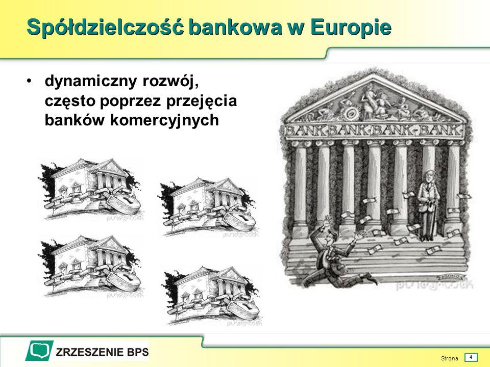 Strona 4 Spółdzielczość bankowa w Europie dynamiczny rozwój, często poprzez przejęcia banków komercyjnych