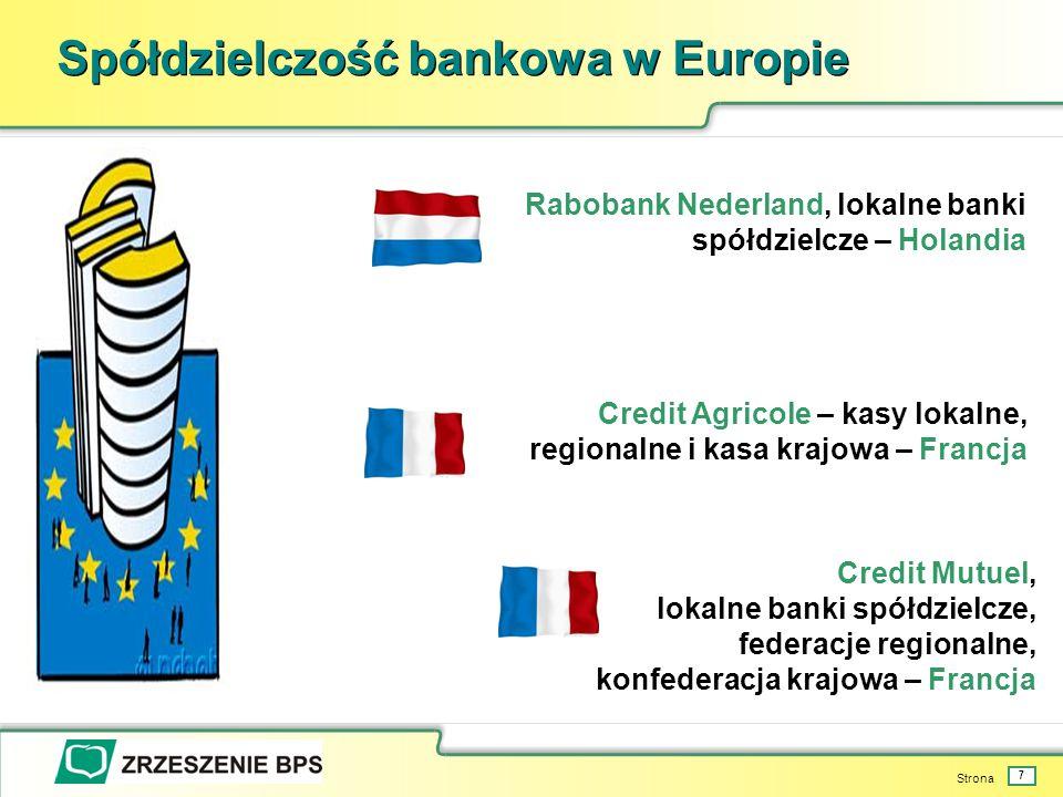 Strona 7 Spółdzielczość bankowa w Europie Rabobank Nederland, lokalne banki spółdzielcze – Holandia Credit Agricole – kasy lokalne, regionalne i kasa krajowa – Francja Credit Mutuel, lokalne banki spółdzielcze, federacje regionalne, konfederacja krajowa – Francja