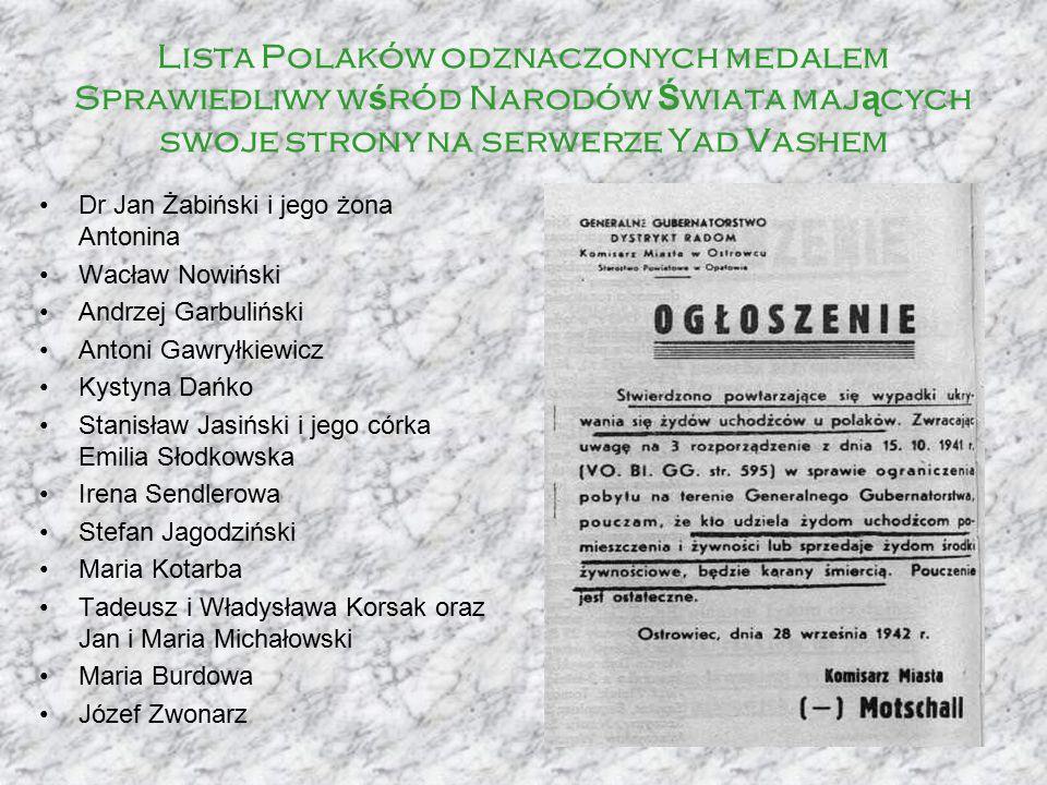 Lista Polaków odznaczonych medalem Sprawiedliwy w ś ród Narodów Ś wiata maj ą cych swoje strony na serwerze Yad Vashem Dr Jan Żabiński i jego żona Ant