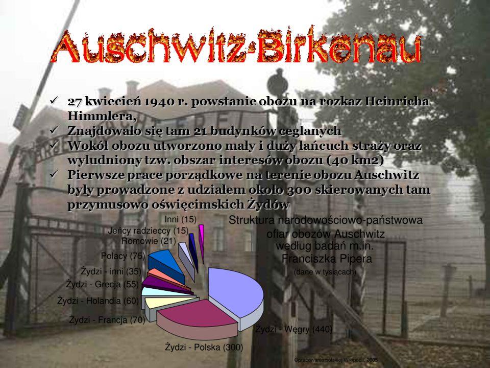 27 kwiecień 1940 r. powstanie obozu na rozkaz Heinricha Himmlera, 27 kwiecień 1940 r. powstanie obozu na rozkaz Heinricha Himmlera, Znajdowało się tam