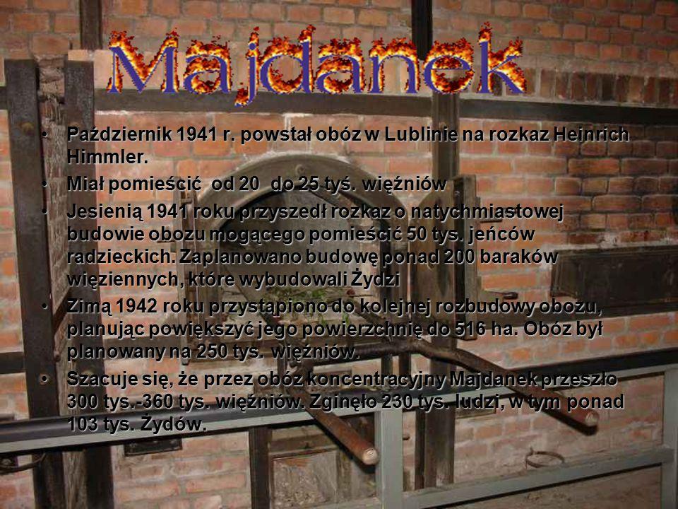 Październik 1941 r. powstał obóz w Lublinie na rozkaz Heinrich Himmler.Październik 1941 r. powstał obóz w Lublinie na rozkaz Heinrich Himmler. Miał po