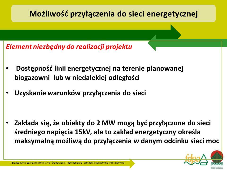 """""""Biogazownie szansą dla rolnictwa i środowiska – ogólnopolska kampania edukacyjno-informacyjna Możliwość przyłączenia do sieci energetycznej Element niezbędny do realizacji projektu Dostępność linii energetycznej na terenie planowanej biogazowni lub w niedalekiej odległości Uzyskanie warunków przyłączenia do sieci Zakłada się, że obiekty do 2 MW mogą być przyłączone do sieci średniego napięcia 15kV, ale to zakład energetyczny określa maksymalną możliwą do przyłączenia w danym odcinku sieci moc"""