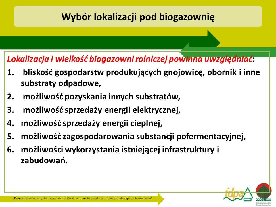"""""""Biogazownie szansą dla rolnictwa i środowiska – ogólnopolska kampania edukacyjno-informacyjna Wybór lokalizacji pod biogazownię Lokalizacja i wielkość biogazowni rolniczej powinna uwzględniać: 1."""