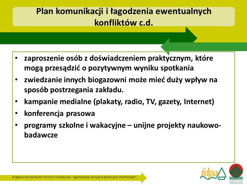 """""""Biogazownie szansą dla rolnictwa i środowiska – ogólnopolska kampania edukacyjno-informacyjna Plan komunikacji i łagodzenia ewentualnych konfliktów c.d."""