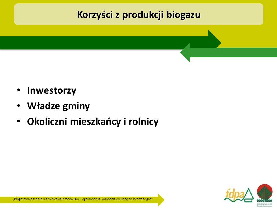 """""""Biogazownie szansą dla rolnictwa i środowiska – ogólnopolska kampania edukacyjno-informacyjna Inwestorzy : sprzedaży wyprodukowanego prądu i ciepła, na sprzedaży certyfikatów i nawozu powstałego z przefermentowanego osadu."""