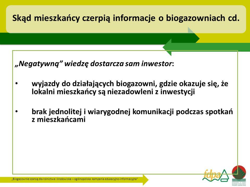 """""""Biogazownie szansą dla rolnictwa i środowiska – ogólnopolska kampania edukacyjno-informacyjna Skąd mieszkańcy czerpią informacje o biogazowniach cd."""