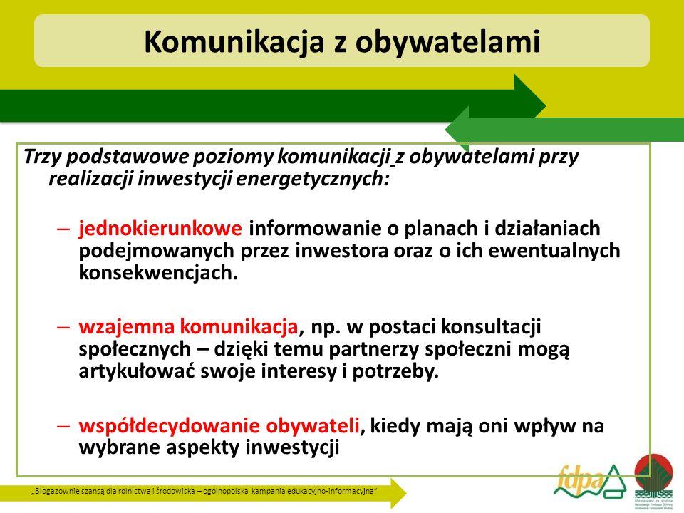 """""""Biogazownie szansą dla rolnictwa i środowiska – ogólnopolska kampania edukacyjno-informacyjna Komunikacja z obywatelami Trzy podstawowe poziomy komunikacji z obywatelami przy realizacji inwestycji energetycznych: – jednokierunkowe informowanie o planach i działaniach podejmowanych przez inwestora oraz o ich ewentualnych konsekwencjach."""