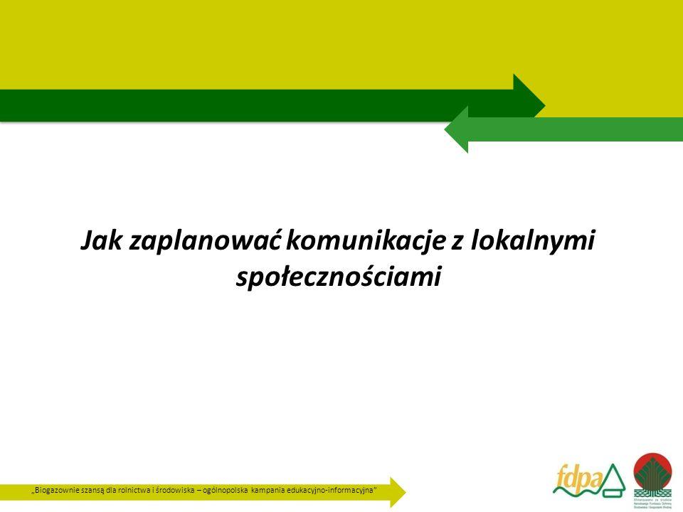 """""""Biogazownie szansą dla rolnictwa i środowiska – ogólnopolska kampania edukacyjno-informacyjna Jak zaplanować komunikacje z lokalnymi społecznościami"""