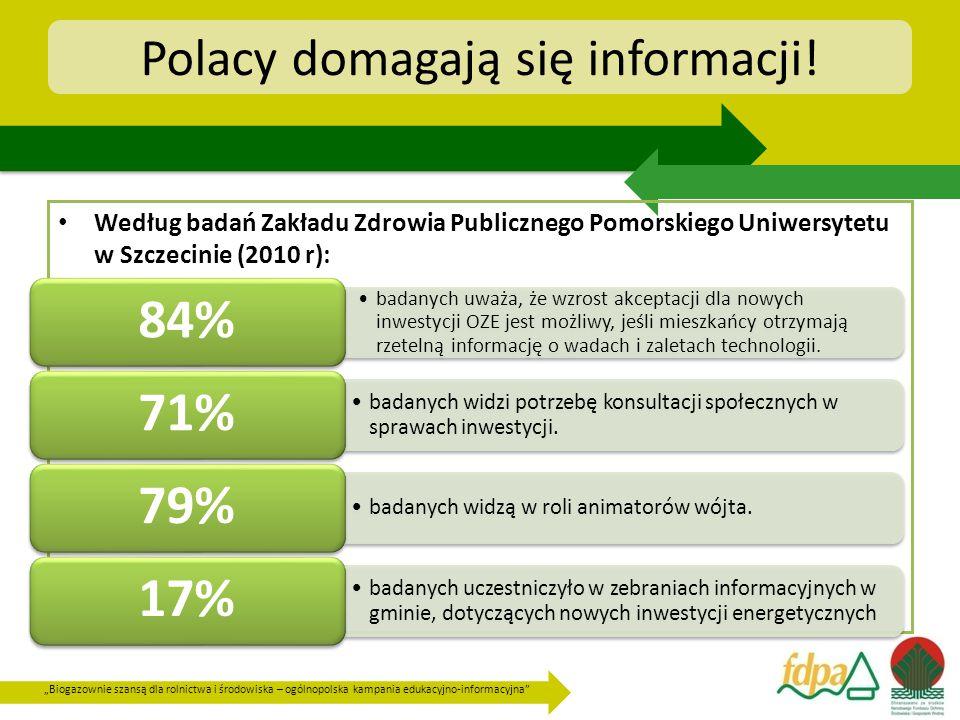 """""""Biogazownie szansą dla rolnictwa i środowiska – ogólnopolska kampania edukacyjno-informacyjna Polacy domagają się informacji."""