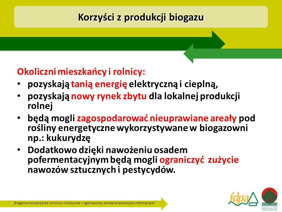 """""""Biogazownie szansą dla rolnictwa i środowiska – ogólnopolska kampania edukacyjno-informacyjna Okoliczni mieszkańcy i rolnicy: pozyskają tanią energię elektryczną i cieplną, pozyskają nowy rynek zbytu dla lokalnej produkcji rolnej będą mogli zagospodarować nieuprawiane areały pod rośliny energetyczne wykorzystywane w biogazowni np.: kukurydzę Dodatkowo dzięki nawożeniu osadem pofermentacyjnym będą mogli ograniczyć zużycie nawozów sztucznych i pestycydów."""