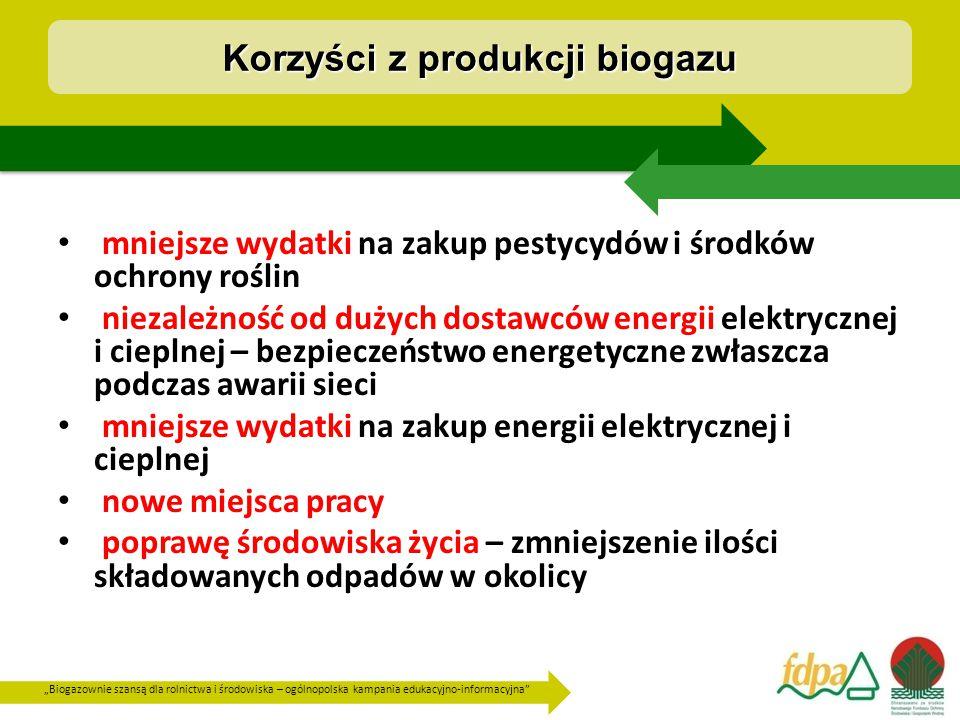 """""""Biogazownie szansą dla rolnictwa i środowiska – ogólnopolska kampania edukacyjno-informacyjna mniejsze wydatki na zakup pestycydów i środków ochrony roślin niezależność od dużych dostawców energii elektrycznej i cieplnej – bezpieczeństwo energetyczne zwłaszcza podczas awarii sieci mniejsze wydatki na zakup energii elektrycznej i cieplnej nowe miejsca pracy poprawę środowiska życia – zmniejszenie ilości składowanych odpadów w okolicy Korzyści z produkcji biogazu"""
