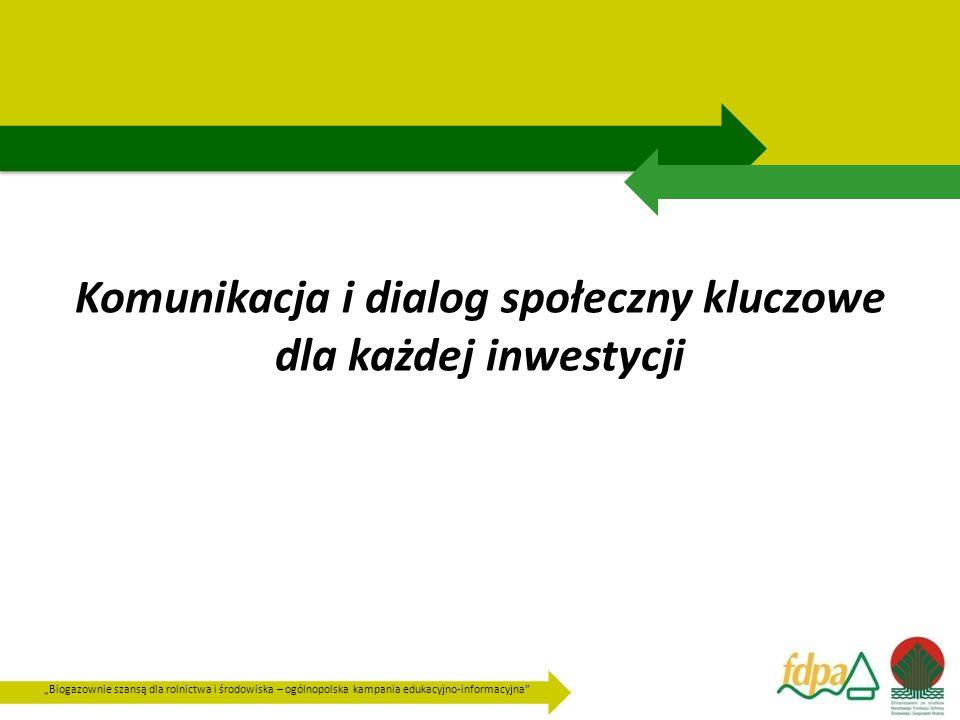 """""""Biogazownie szansą dla rolnictwa i środowiska – ogólnopolska kampania edukacyjno-informacyjna Plan komunikacji i łagodzenia ewentualnych konfliktów Inwestor poprzez: kontakt bezpośredni, buduje zaufanie które może być wykorzystane w procesie konsultacji społecznych."""