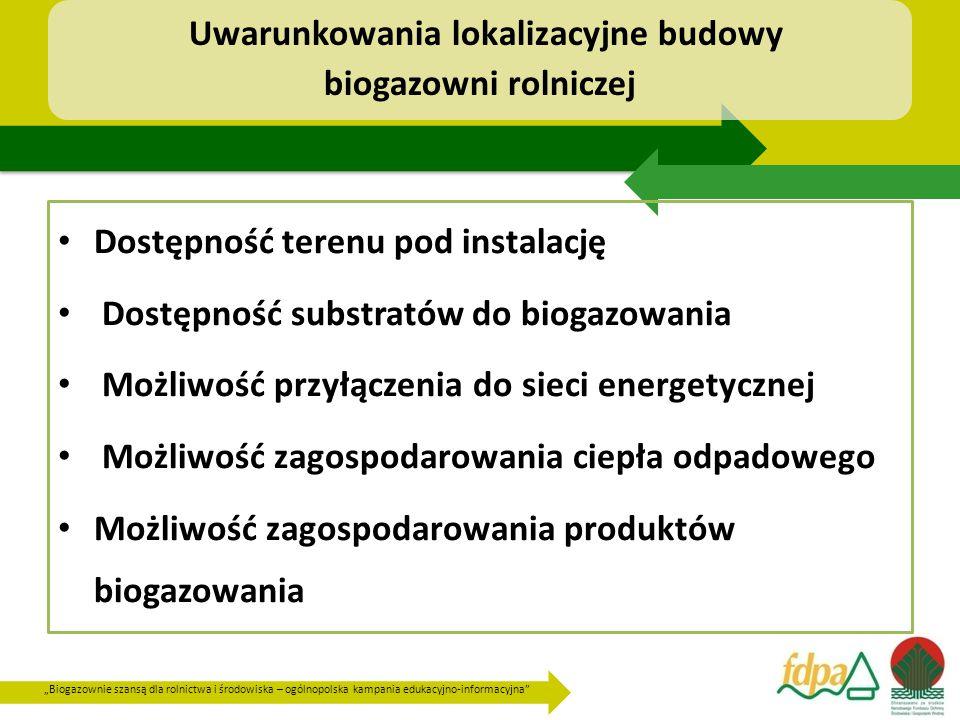 """""""Biogazownie szansą dla rolnictwa i środowiska – ogólnopolska kampania edukacyjno-informacyjna Uwarunkowania lokalizacyjne budowy biogazowni rolniczej Dostępność terenu pod instalację Dostępność substratów do biogazowania Możliwość przyłączenia do sieci energetycznej Możliwość zagospodarowania ciepła odpadowego Możliwość zagospodarowania produktów biogazowania"""