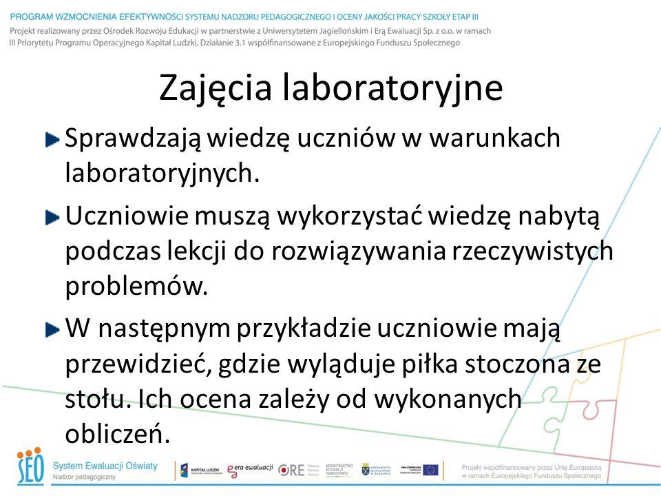 Zajęcia laboratoryjne Sprawdzają wiedzę uczniów w warunkach laboratoryjnych.