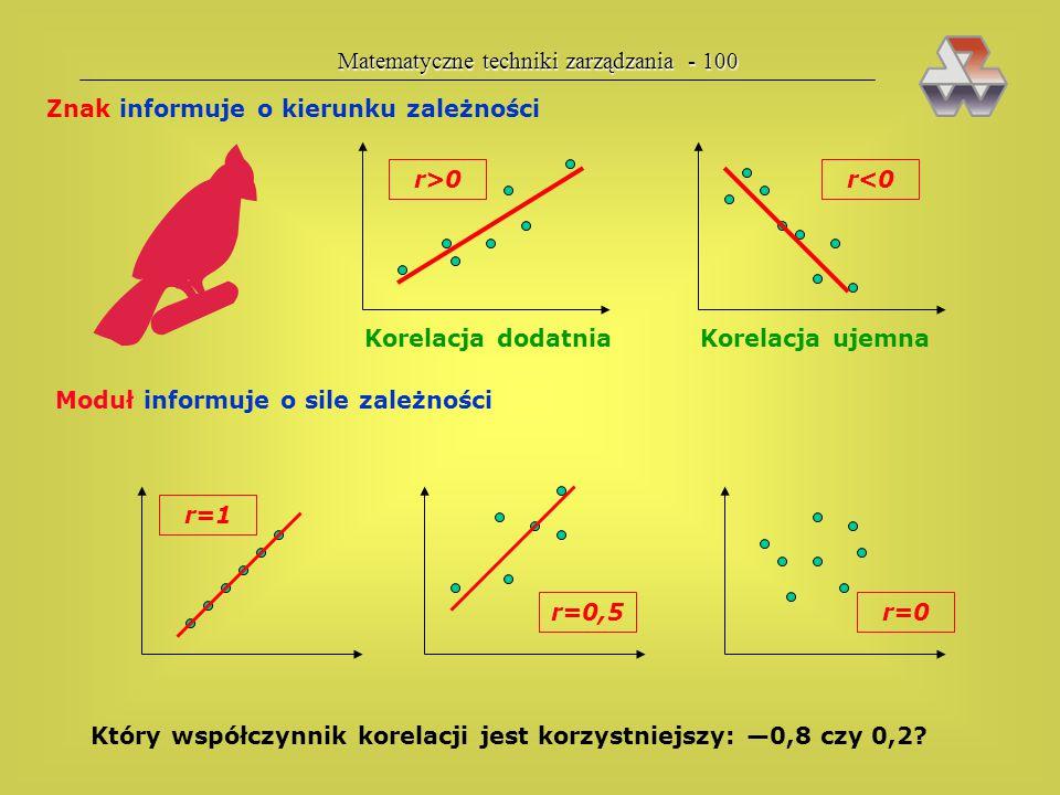 Matematyczne techniki zarządzania - 99 związek statystyczny Domena — model rzeczywistości xixi — średnia rozkładu  — obrazuje rozrzut — środek ciężko
