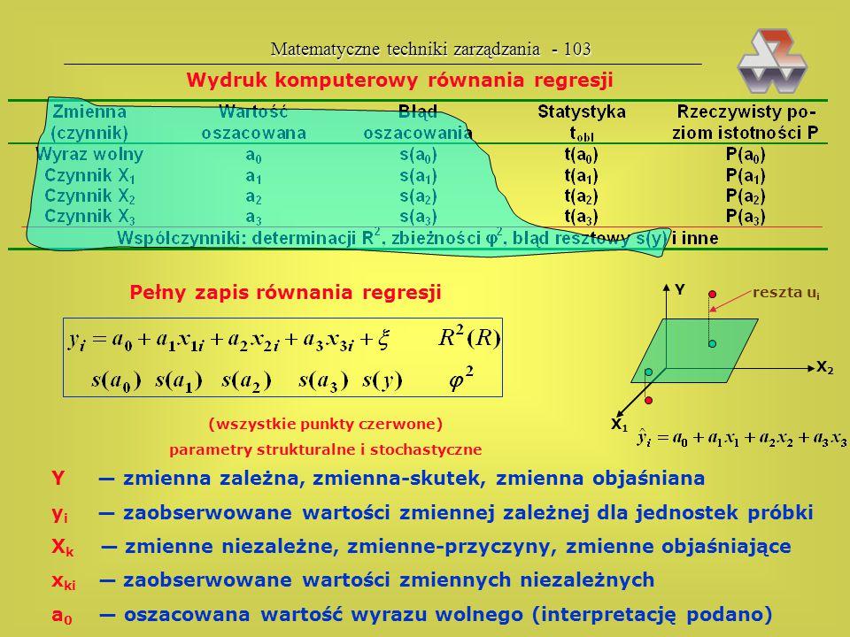 Matematyczne techniki zarządzania - 102 Czynności przy badaniu zależności zmiennych określenie co jest skutkiem (Y), a co przyczynami (X 1, X 2, itd.)
