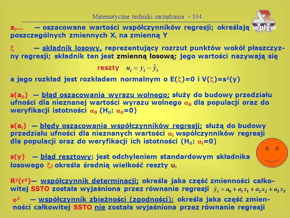 Matematyczne techniki zarządzania - 103 Wydruk komputerowy równania regresji Pełny zapis równania regresji Y — zmienna zależna, zmienna-skutek, zmienn