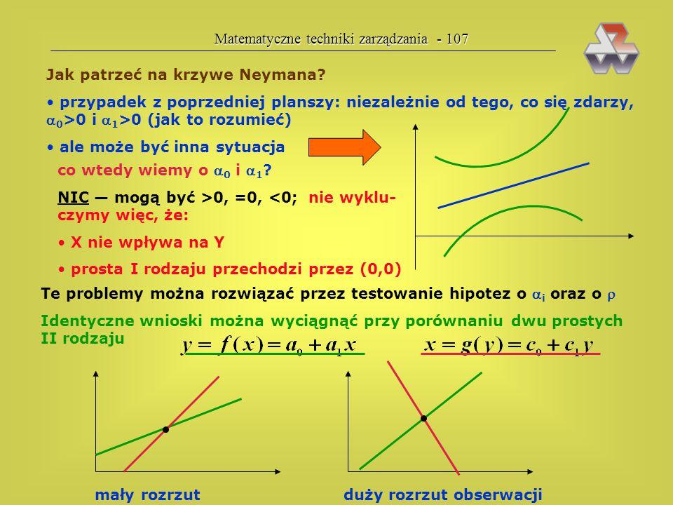 Matematyczne techniki zarządzania - 106 Krzywe Neymana X Y obserwacje (dane empiryczne) środek ciężkości próbki prosta regresji II rodzaju (dla próbki