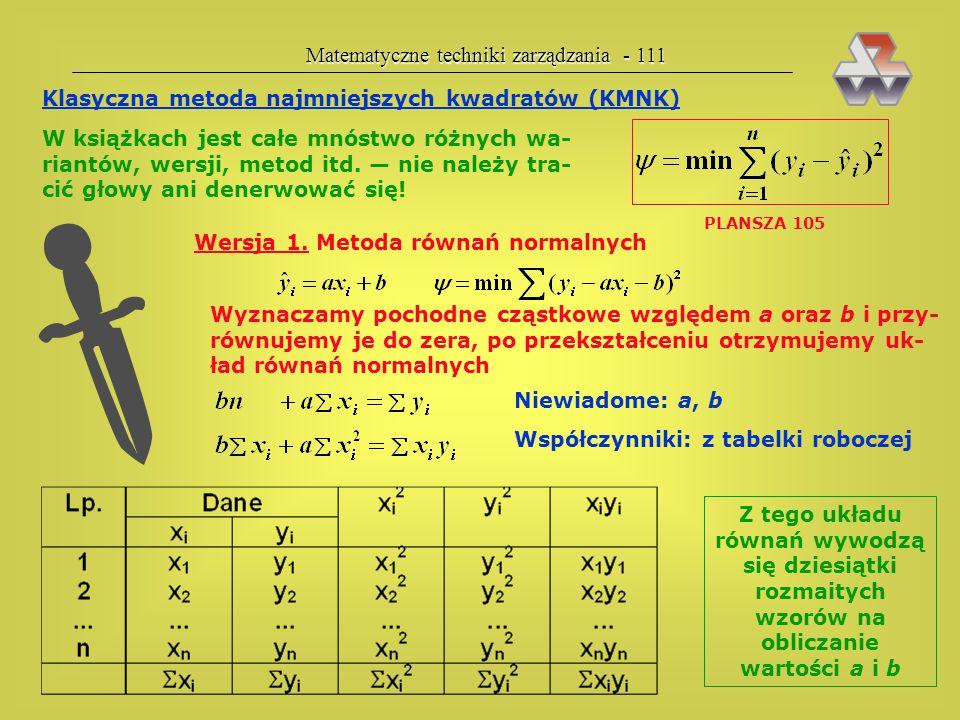 Matematyczne techniki zarządzania - 110 4. Także stosujemy transformację logarytmiczną Kolejność czynności przy estymacji funkcji regresji krzywolinio