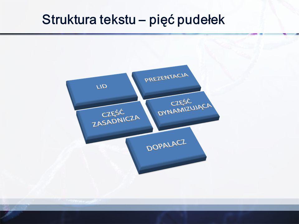 Struktura tekstu – pięć pudełek