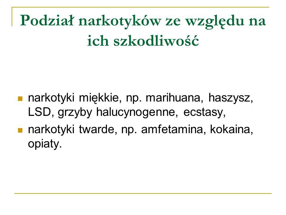 Podział narkotyków ze względu na ich szkodliwość narkotyki miękkie, np.