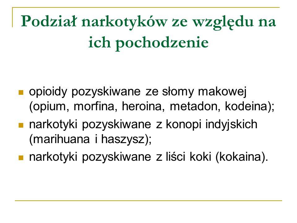 Podział narkotyków ze względu na ich pochodzenie opioidy pozyskiwane ze słomy makowej (opium, morfina, heroina, metadon, kodeina); narkotyki pozyskiwane z konopi indyjskich (marihuana i haszysz); narkotyki pozyskiwane z liści koki (kokaina).