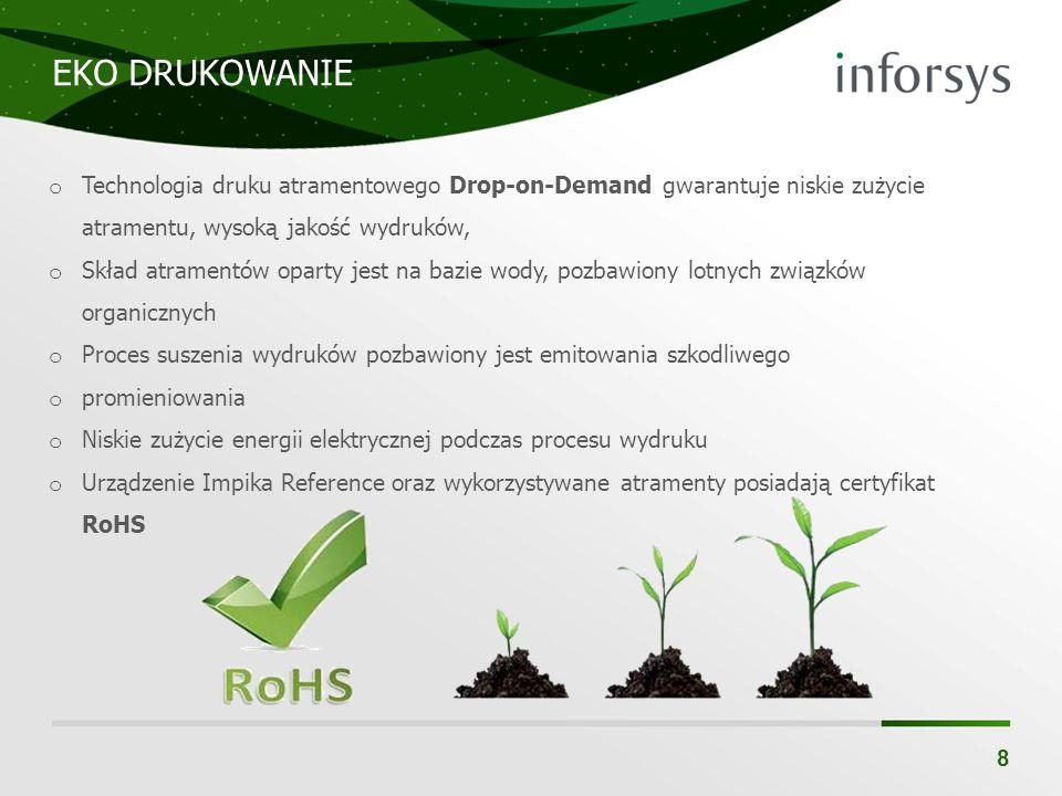 EKO DRUKOWANIE 8 o Technologia druku atramentowego Drop-on-Demand gwarantuje niskie zużycie atramentu, wysoką jakość wydruków, o Skład atramentów opar