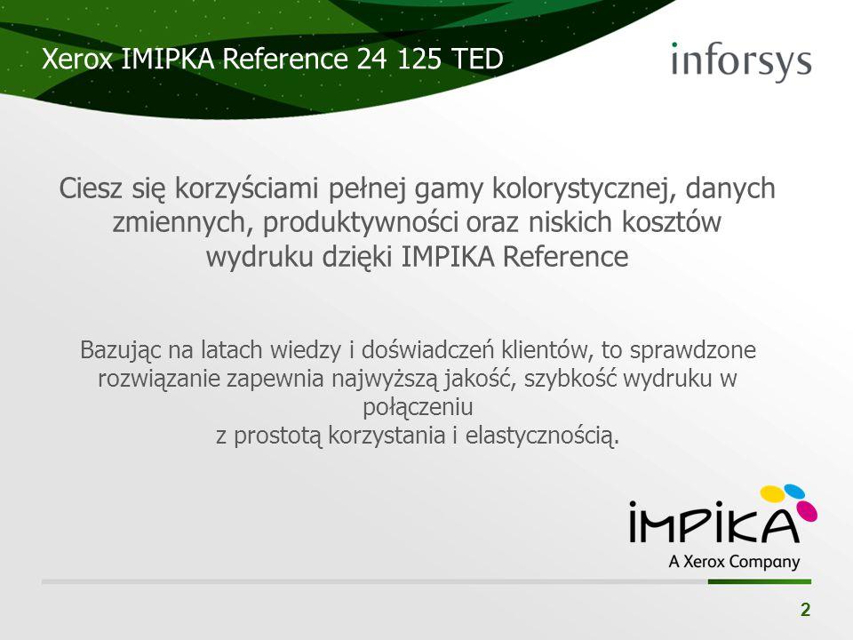 Xerox IMIPKA Reference 24 125 TED 2 Ciesz się korzyściami pełnej gamy kolorystycznej, danych zmiennych, produktywności oraz niskich kosztów wydruku dz