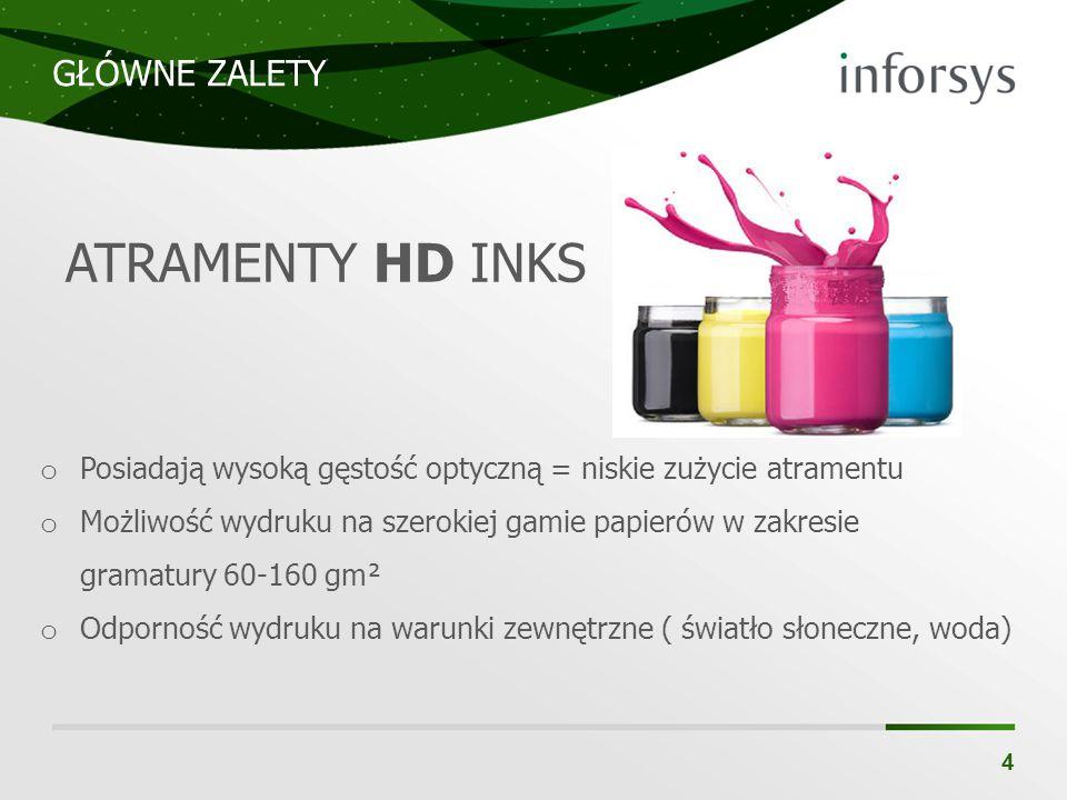 GŁÓWNE ZALETY 4 ATRAMENTY HD INKS o Posiadają wysoką gęstość optyczną = niskie zużycie atramentu o Możliwość wydruku na szerokiej gamie papierów w zak
