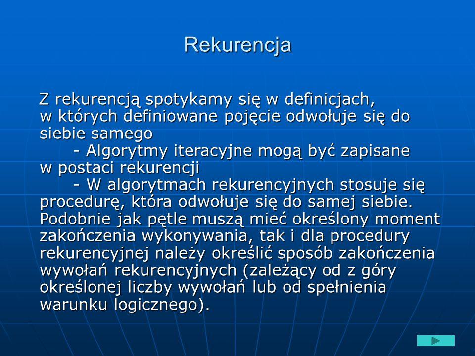 Rekurencja Z rekurencją spotykamy się w definicjach, w których definiowane pojęcie odwołuje się do siebie samego - Algorytmy iteracyjne mogą być zapis