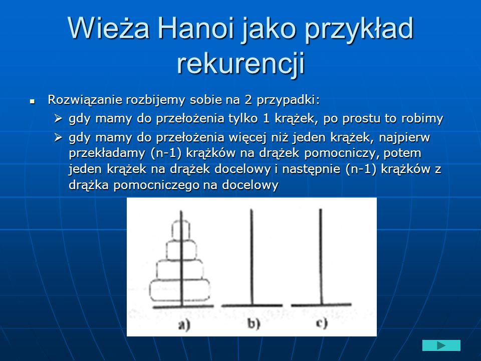 Wieża Hanoi jako przykład rekurencji Rozwiązanie rozbijemy sobie na 2 przypadki: Rozwiązanie rozbijemy sobie na 2 przypadki:  gdy mamy do przełożenia