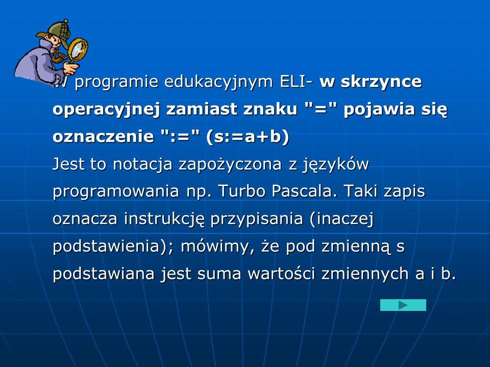 W programie edukacyjnym ELI- w skrzynce operacyjnej zamiast znaku