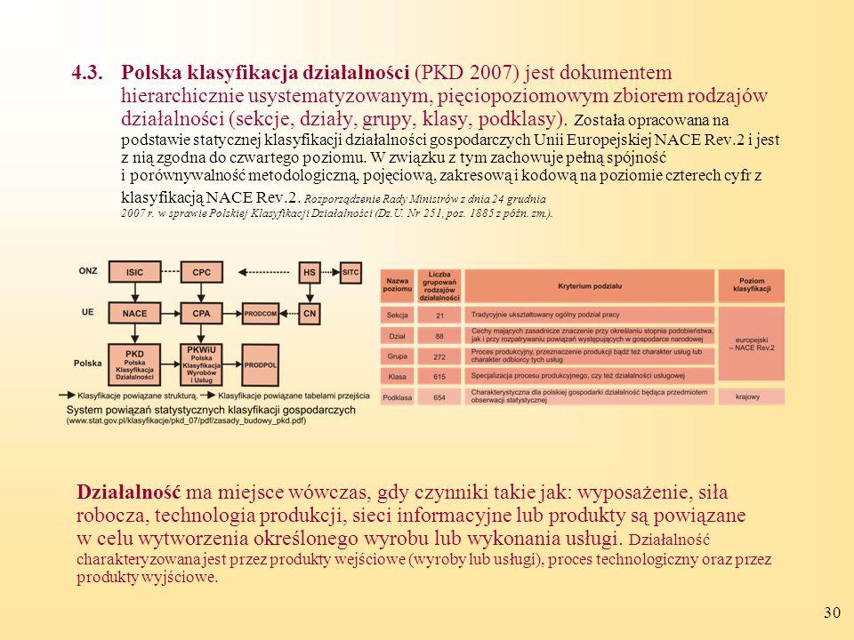 30 4.3.Polska klasyfikacja działalności (PKD 2007) jest dokumentem hierarchicznie usystematyzowanym, pięciopoziomowym zbiorem rodzajów działalności (sekcje, działy, grupy, klasy, podklasy).