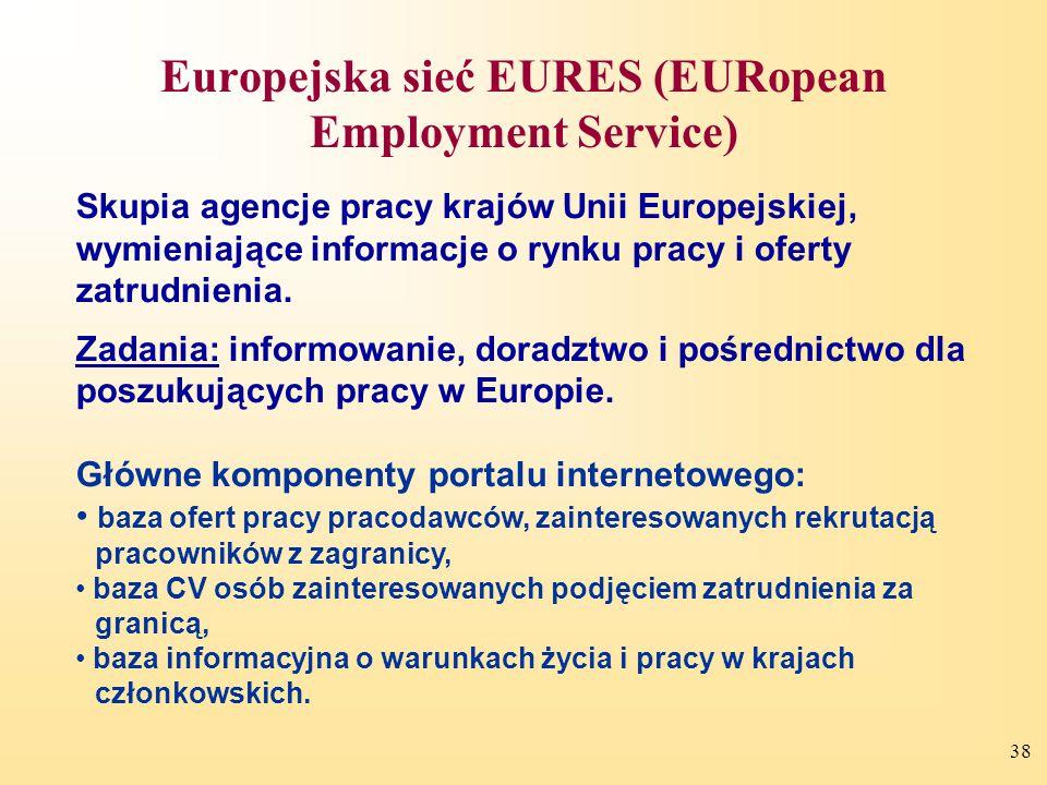 38 Skupia agencje pracy krajów Unii Europejskiej, wymieniające informacje o rynku pracy i oferty zatrudnienia.