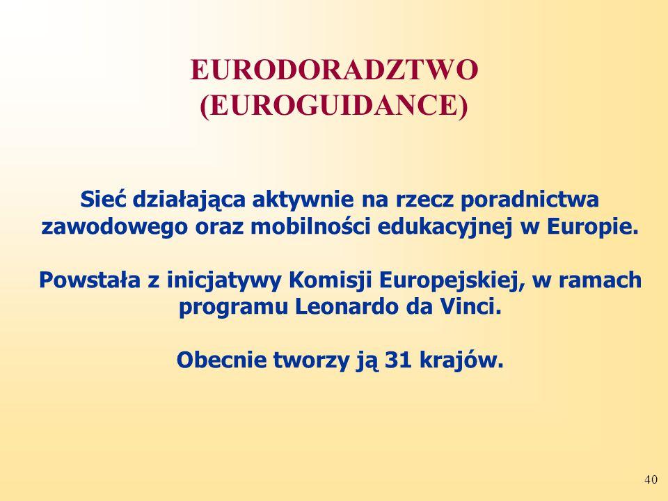 40 Sieć działająca aktywnie na rzecz poradnictwa zawodowego oraz mobilności edukacyjnej w Europie.