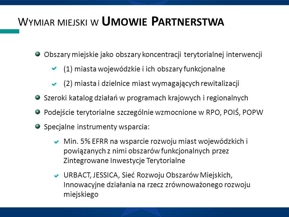 W YMIAR MIEJSKI W U MOWIE P ARTNERSTWA Obszary miejskie jako obszary koncentracji terytorialnej interwencji (1) miasta wojewódzkie i ich obszary funkcjonalne (2) miasta i dzielnice miast wymagających rewitalizacji Szeroki katalog działań w programach krajowych i regionalnych Podejście terytorialne szczególnie wzmocnione w RPO, POIŚ, POPW Specjalne instrumenty wsparcia: Min.