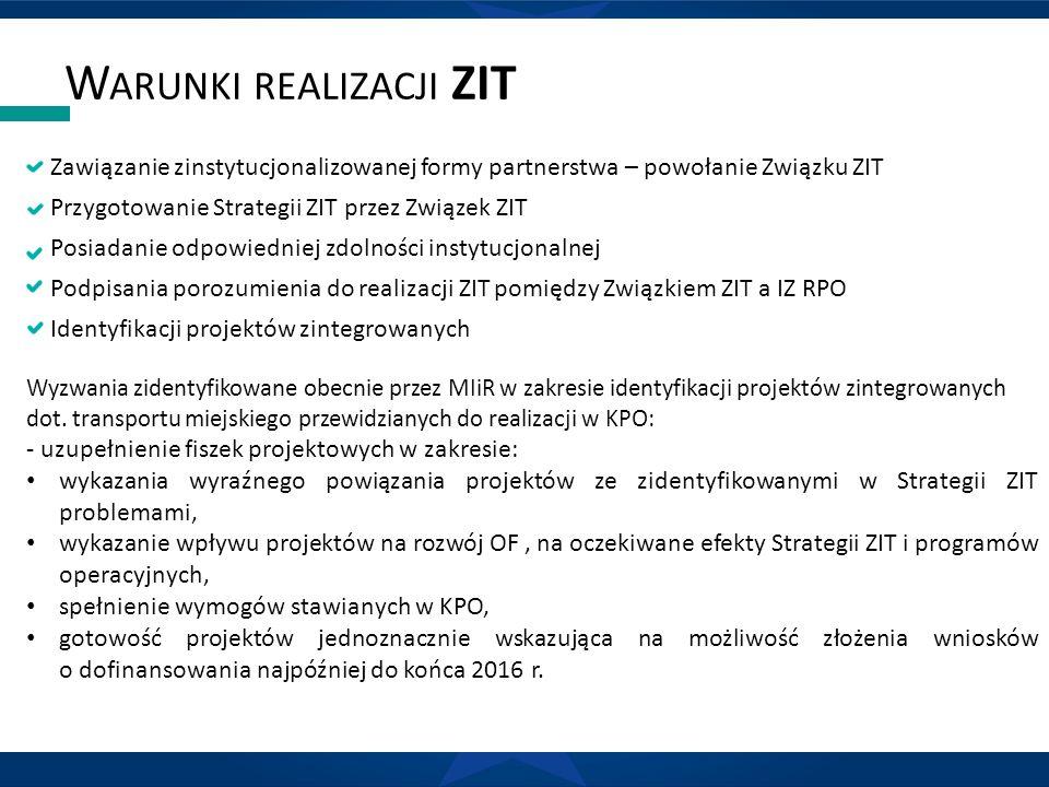 W ARUNKI REALIZACJI ZIT Zawiązanie zinstytucjonalizowanej formy partnerstwa – powołanie Związku ZIT Przygotowanie Strategii ZIT przez Związek ZIT Posiadanie odpowiedniej zdolności instytucjonalnej Podpisania porozumienia do realizacji ZIT pomiędzy Związkiem ZIT a IZ RPO Identyfikacji projektów zintegrowanych Wyzwania zidentyfikowane obecnie przez MIiR w zakresie identyfikacji projektów zintegrowanych dot.
