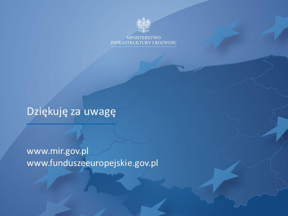 Dziękuję za uwagę www.mir.gov.pl www.funduszeeuropejskie.gov.pl