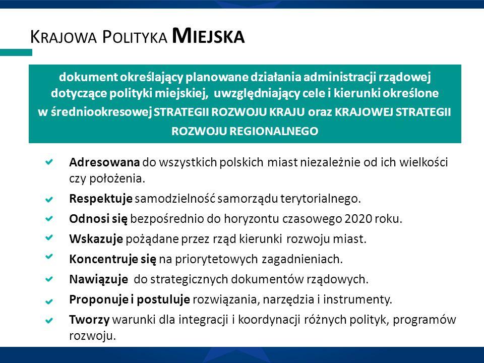 dokument określający planowane działania administracji rządowej dotyczące polityki miejskiej, uwzględniający cele i kierunki określone w średniookreso