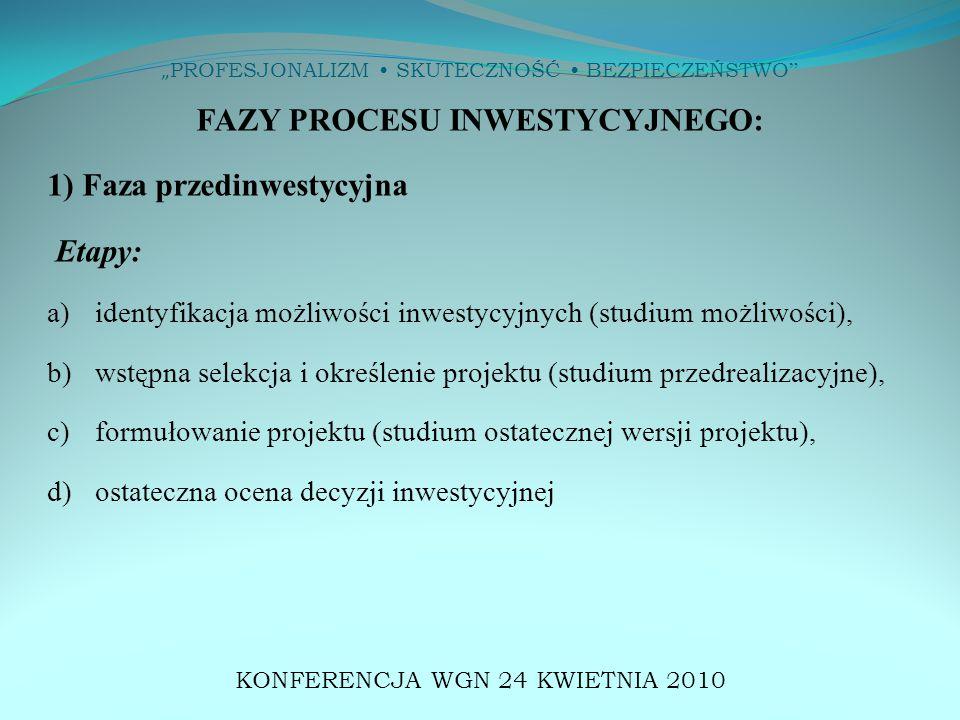 """"""" PROFESJONALIZM SKUTECZNOŚĆ BEZPIECZEŃSTWO FAZY PROCESU INWESTYCYJNEGO: 1) Faza przedinwestycyjna Etapy: a)identyfikacja możliwości inwestycyjnych (studium możliwości), b) wstępna selekcja i określenie projektu (studium przedrealizacyjne), c) formułowanie projektu (studium ostatecznej wersji projektu), d) ostateczna ocena decyzji inwestycyjnej KONFERENCJA WGN 24 KWIETNIA 2010"""