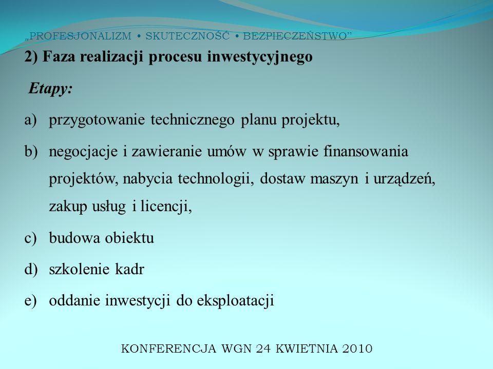 """"""" PROFESJONALIZM SKUTECZNOŚĆ BEZPIECZEŃSTWO 2) Faza realizacji procesu inwestycyjnego Etapy: a)przygotowanie technicznego planu projektu, b) negocjacje i zawieranie umów w sprawie finansowania projektów, nabycia technologii, dostaw maszyn i urządzeń, zakup usług i licencji, c) budowa obiektu d) szkolenie kadr e) oddanie inwestycji do eksploatacji KONFERENCJA WGN 24 KWIETNIA 2010"""