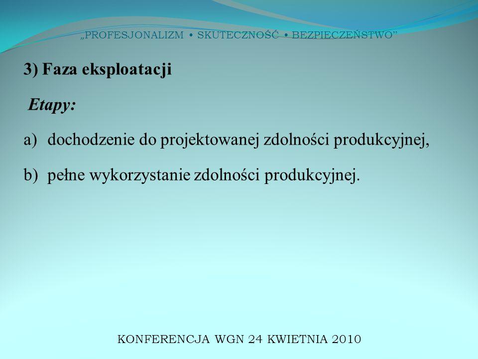 """"""" PROFESJONALIZM SKUTECZNOŚĆ BEZPIECZEŃSTWO 3) Faza eksploatacji Etapy: a) dochodzenie do projektowanej zdolności produkcyjnej, b) pełne wykorzystanie zdolności produkcyjnej."""