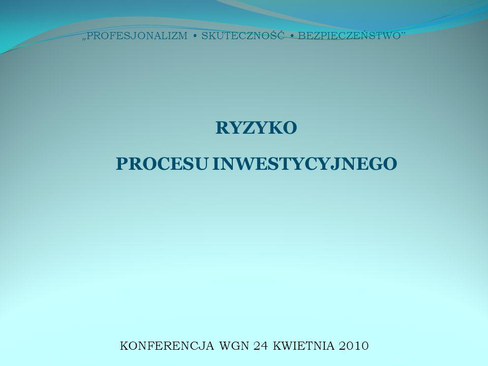 """"""" PROFESJONALIZM SKUTECZNOŚĆ BEZPIECZEŃSTWO """" RYZYKO PROCESU INWESTYCYJNEGO KONFERENCJA WGN 24 KWIETNIA 2010"""